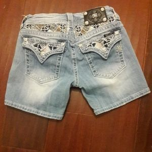 Miss me jeans embellished shorts blue womens 28